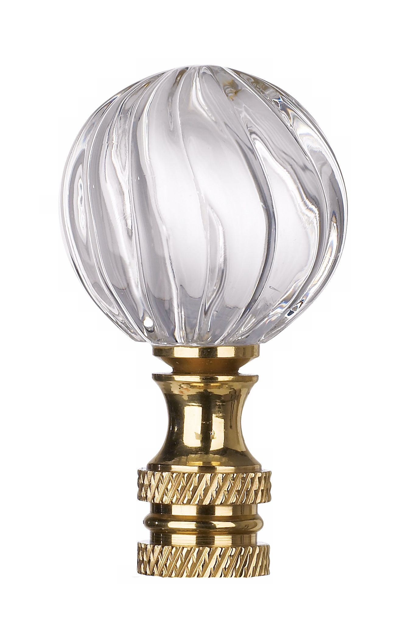 Lovely Clear Glass Swirl Lamp Shade Finial