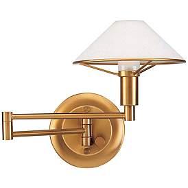 Holtkoetter Antique Br Satin White Swing Arm Wall Lamp