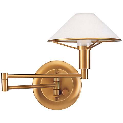 Holtkoetter Antique Brass Satin White Swing Arm Wall Lamp