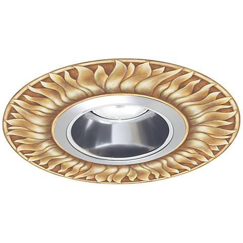 "Juno 6"" Chrome Recessed Trim with Florentine Sun Medallion"