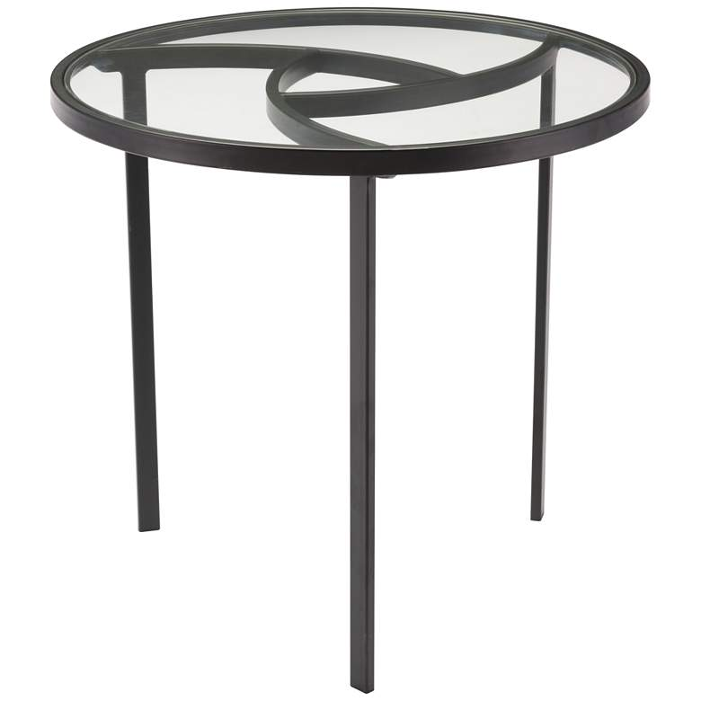 "Asterisk 22 3/4"" Wide Glass Top and Black Round End Table"