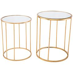 Zuo Finita Mirrored Top Gold 2-Piece Round Nesting Table Set