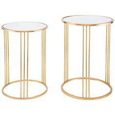 Zuo Magri Mirrored Top Gold 2-Piece Round Nesting Table Set