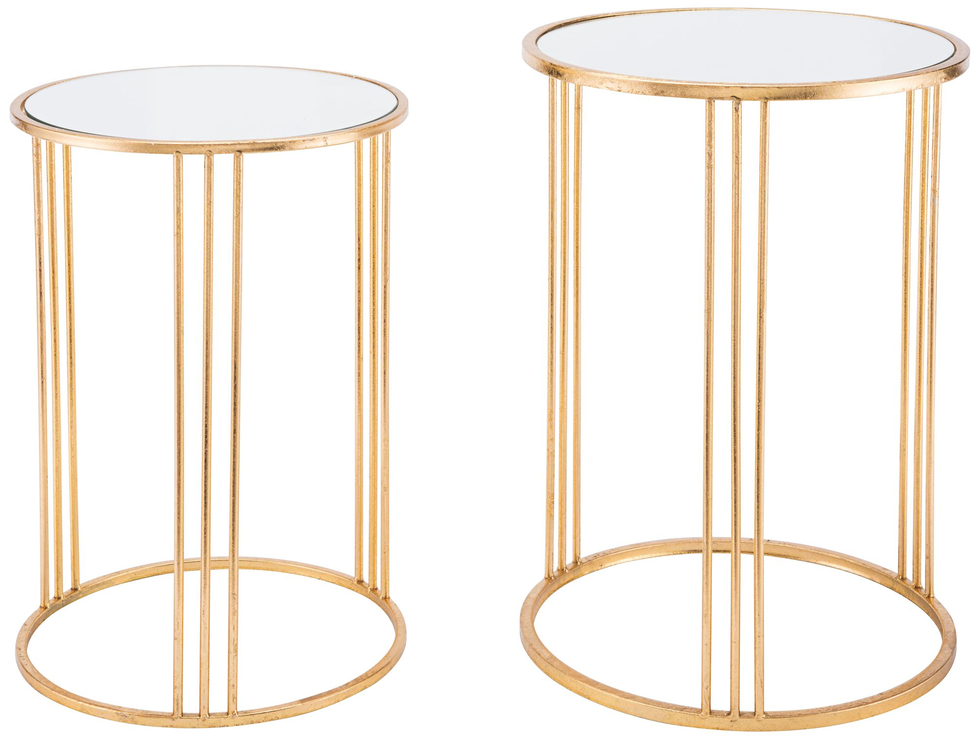 Zuo Magri Mirrored Top Gold 2 Piece Round Nesting Table Set