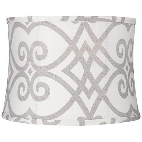 Cream and Gray Round Drum Lamp Shade 13x14x10 (Spider)