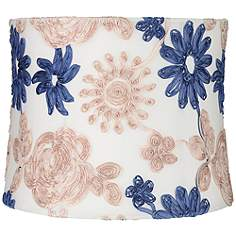 Embroidered Lamp Shades Traditional embroidered lamp shades lamps plus blue and beige soft drum lamp shade 13x14x11 spider audiocablefo