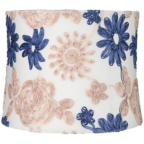 Blue and Beige Soft Drum Lamp Shade 13x14x11 (Spider)