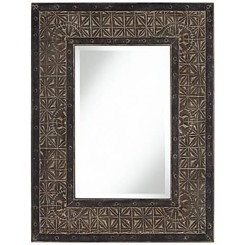 """Lea Pressed Pattern Metal 30 3/4"""" x 40"""" Wall Mirror"""