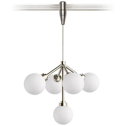 "Mara 12 1/4""W White and Nickel LED Monorail Pendant Light"