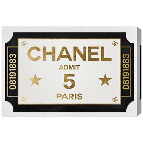 Oliver Gal Ticket Admit One Paris Canvas Wall Art