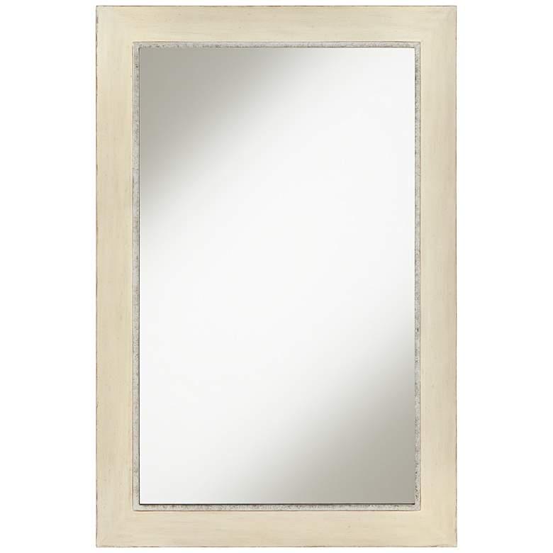 "Beal Light Cream Wood 24"" x 35"" Wall Mirror"