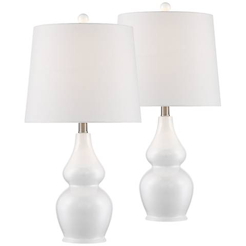 Jane White Ceramic Double Gourd Table Lamp Set Of 2 36c82 Lamps