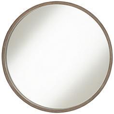 """Ferguson Brush Gray Wood 34"""" Round Wall Mirror"""