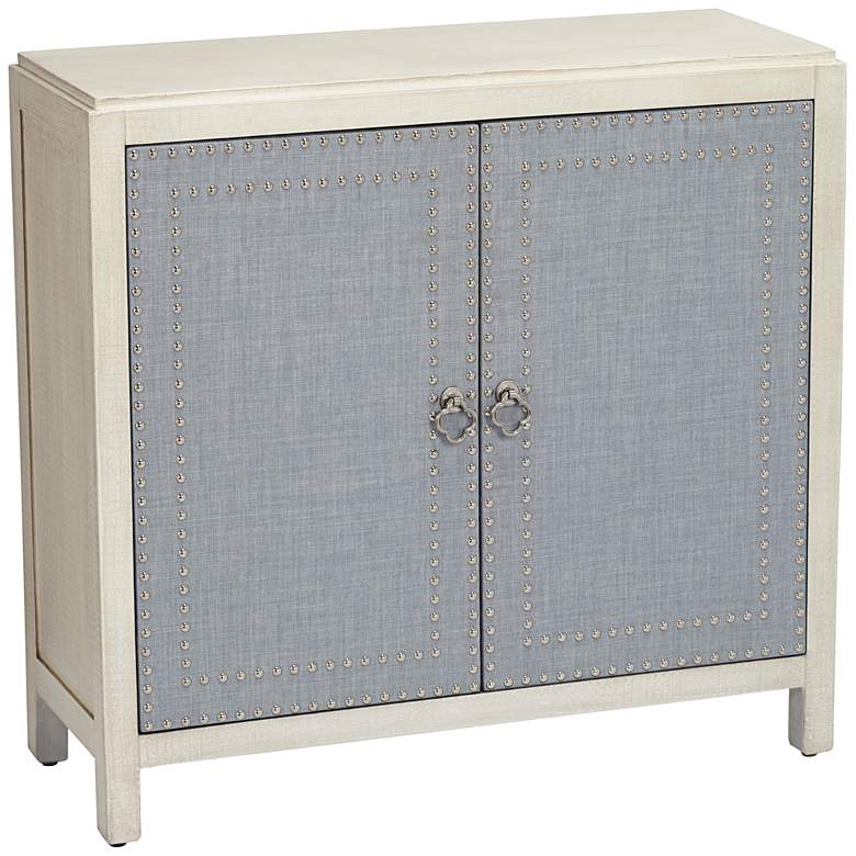 Robin Blue and Painted Ivory 2-Door Cabinet