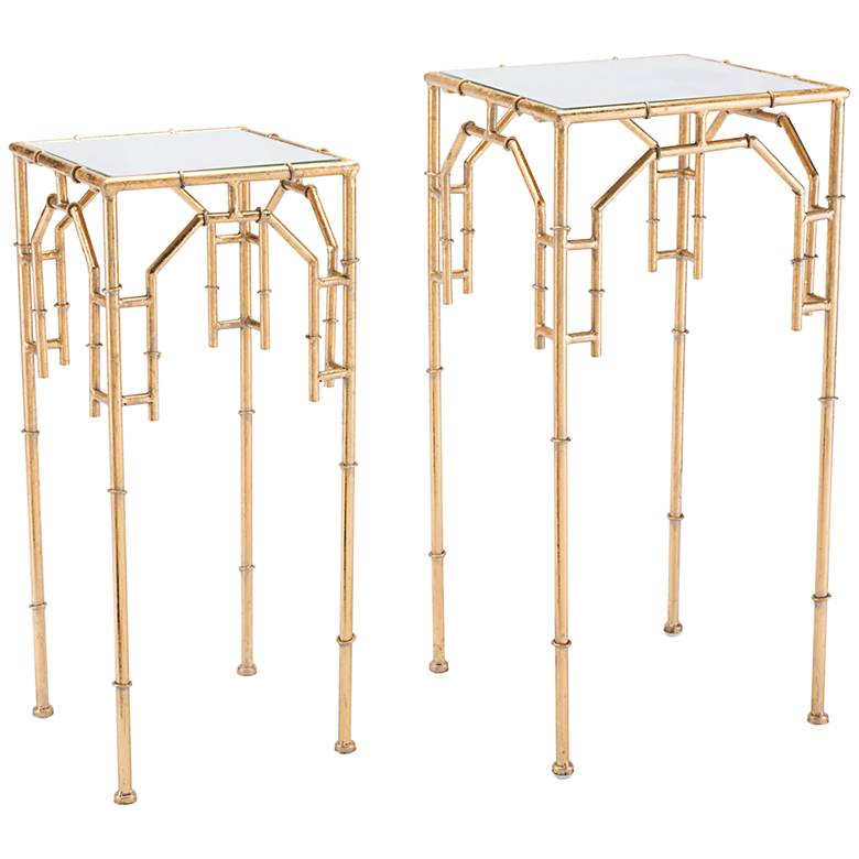 Zuo Bamboo Clear Glass Gold 2-Piece Accent Table Set
