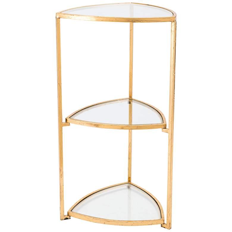 "Tasha 29"" High Tri-Level Glass and Gold Corner Accent Table"