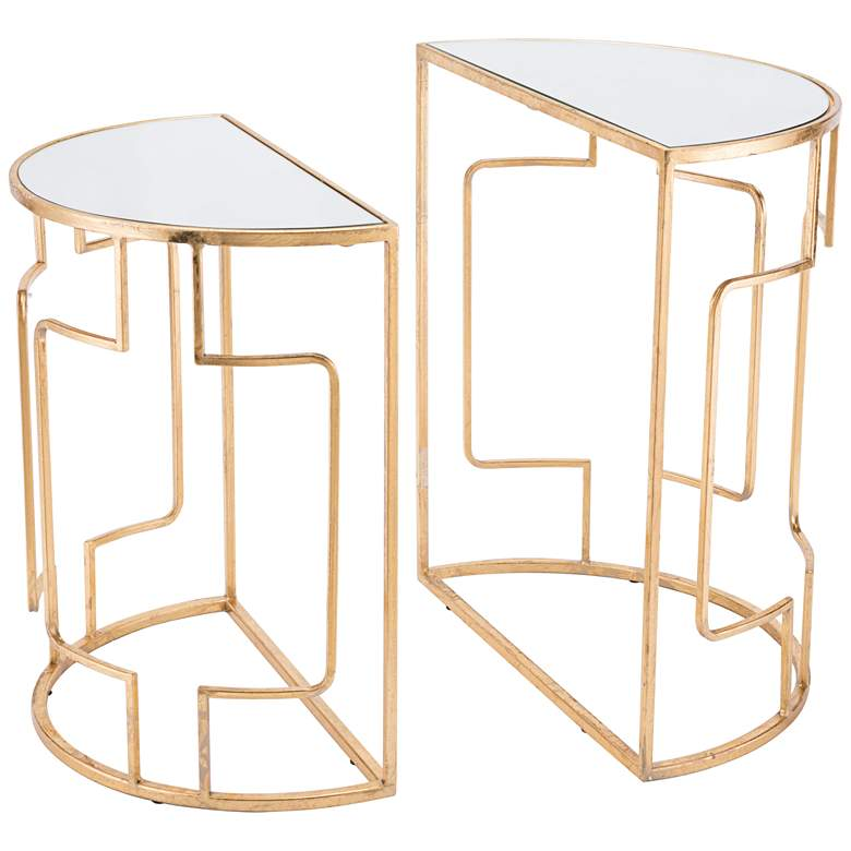 Zuo Roma Mirrored Top and Gold 2-Piece End Table Set