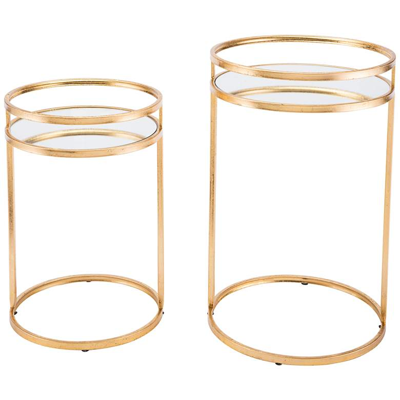 Zuo Ringo Mirrored Top and Gold 2-Piece Nesting Table Set