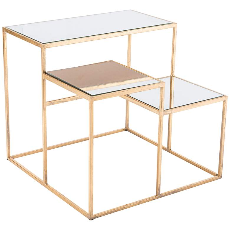 """Labels 20"""" Wide Mirrored and Gold 3-Level Modern End Table"""