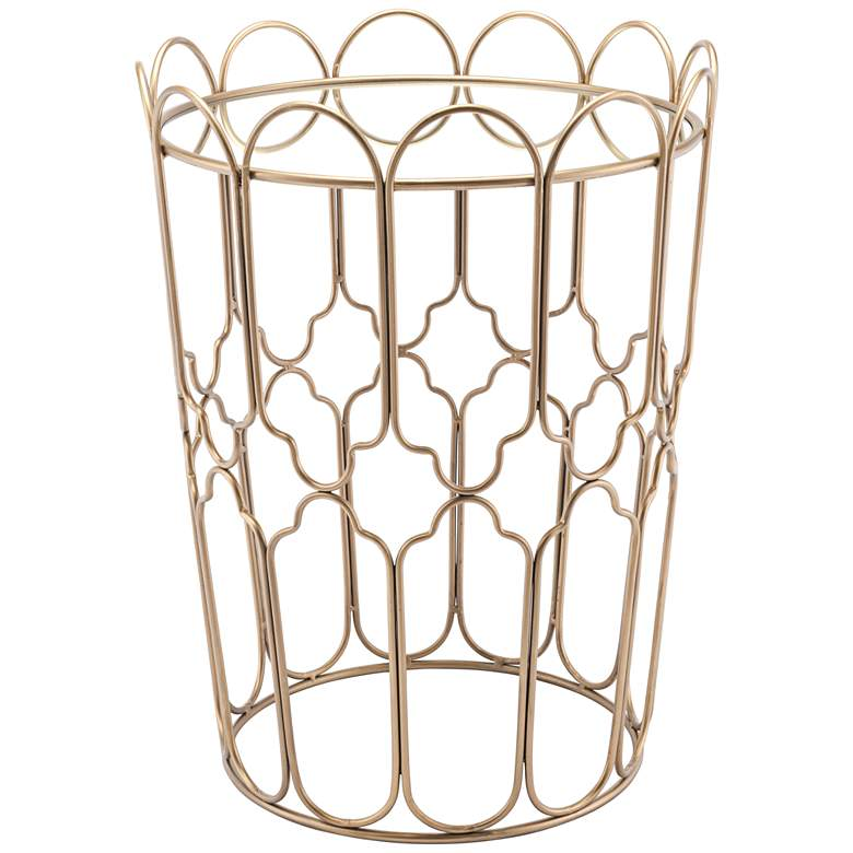 """Waves 17"""" Wide Mirrored Top and Gold Geometric Accent Table"""
