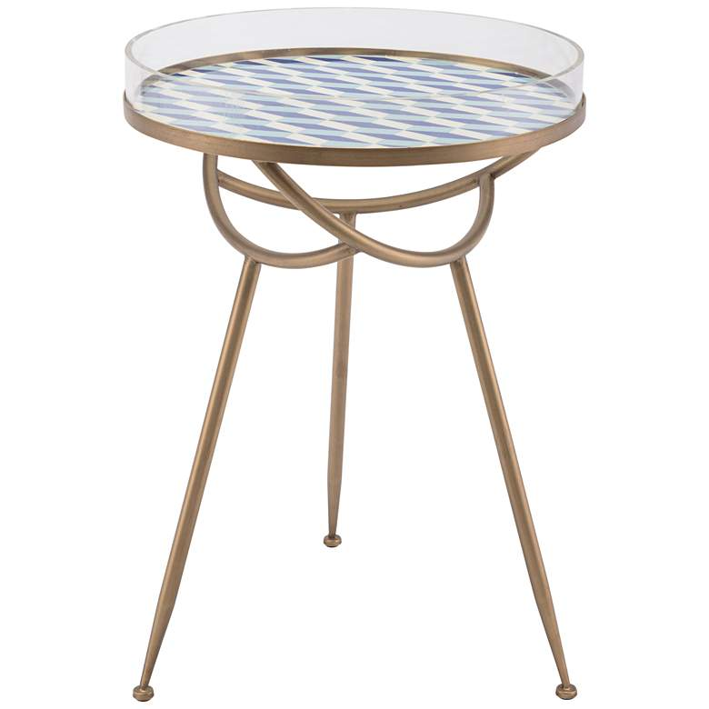 """Zuo Lattice 17 3/4"""" Wide Round Modern Accent Tray Table"""