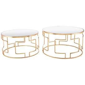 Zuo King Mirrored Top And Gold 2 Piece Accent Table Set