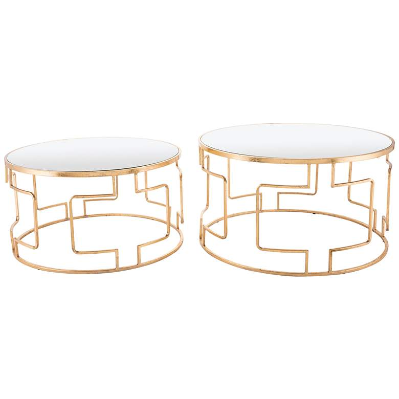 Zuo King Mirrored Top and Gold 2-Piece Accent Table Set