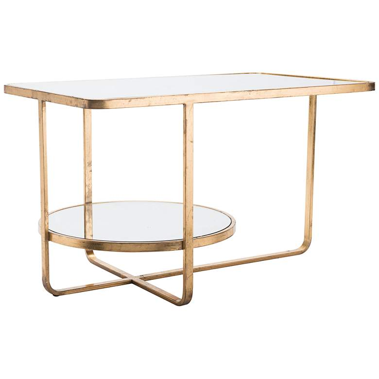 """Geo 30"""" Wide Mirrored Top and Gold Coffee Modern Table"""