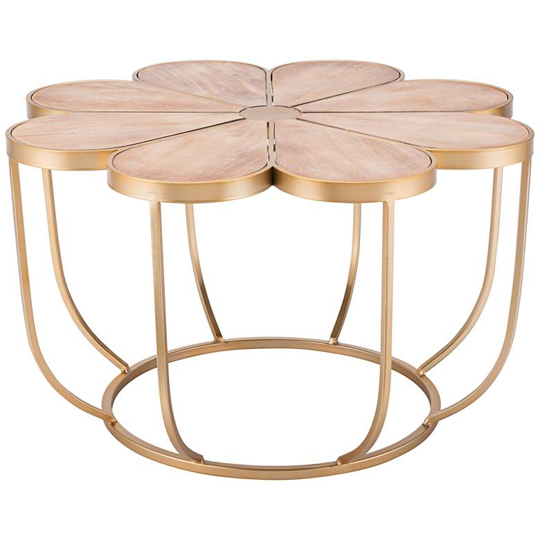 """Margarita 30"""" Wide Wood and Gold Finish Flower Accent Table"""