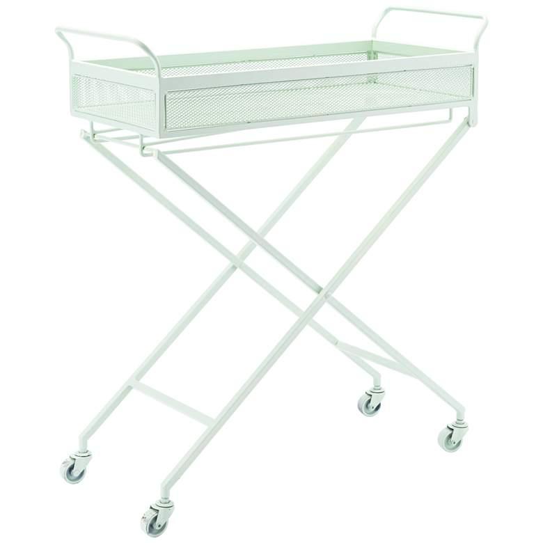 """Zuo 26 1/2"""" Wide Mint Green Steel Rolling Bar Cart"""