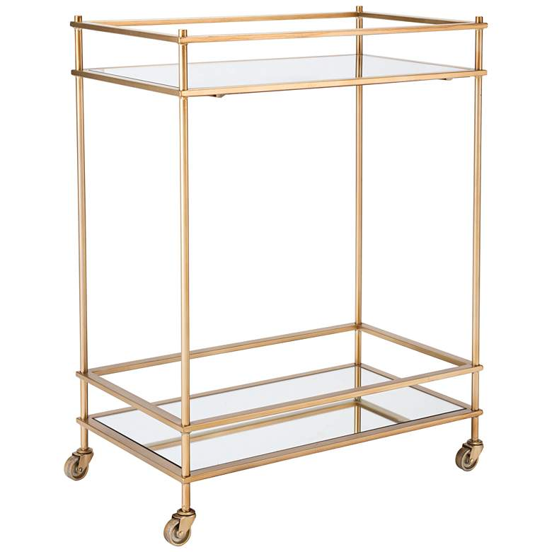 "Ringo 24"" Wide Mirrored Shelves Gold Frame Wheeled Bar Cart"