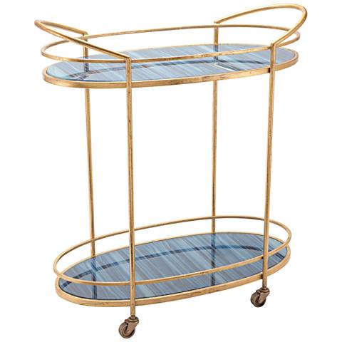 Zuo Zaphire Blue and Antique Gold Bar Cart