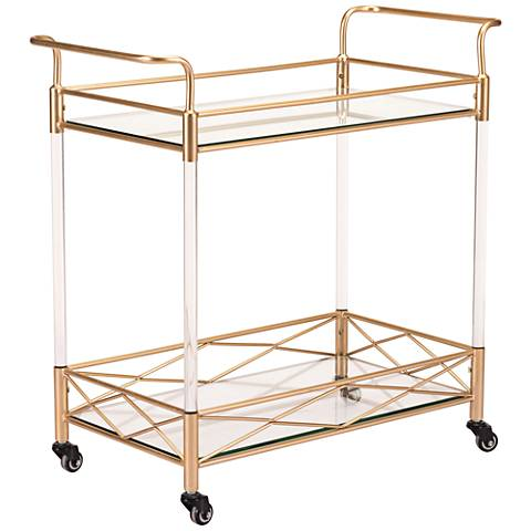 Zuo Rialto Lucite and Gold Metal Bar Cart