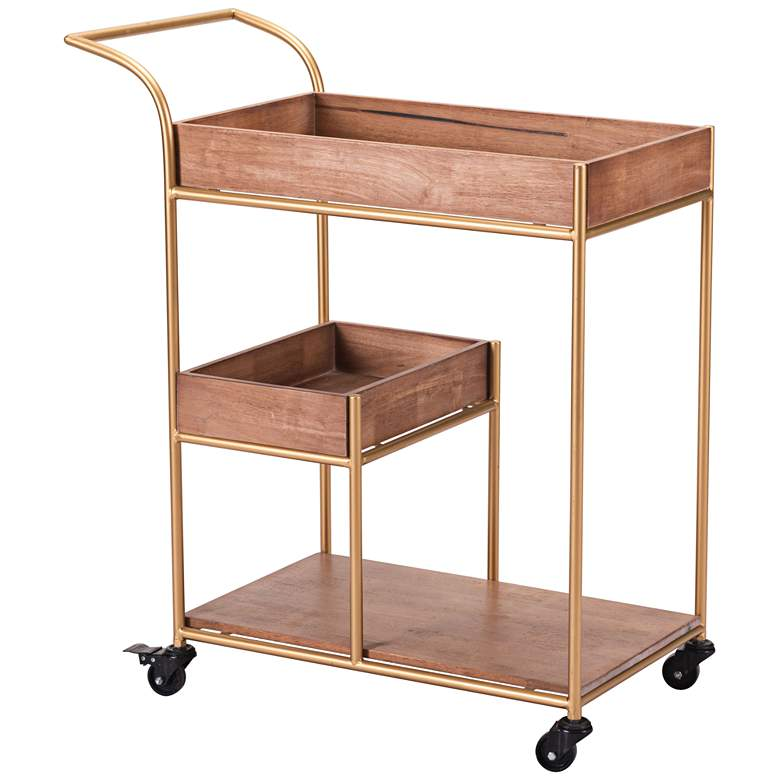 """Emporia 30 1/4"""" Wide Wood and Gold Bar Cart with Tray"""