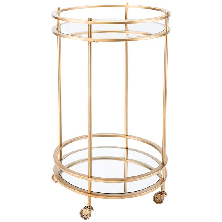 "Magri 18"" Wide Mirrored and Gold Round Bar Cart"