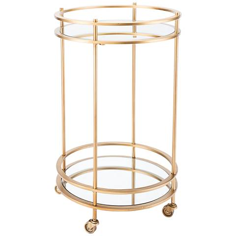 Zuo Magri Mirrored and Gold Round Bar Cart