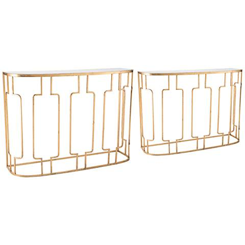 Zuo Roma Mirrored Top and Gold 2-Piece Console Table Set - #36D98 ...
