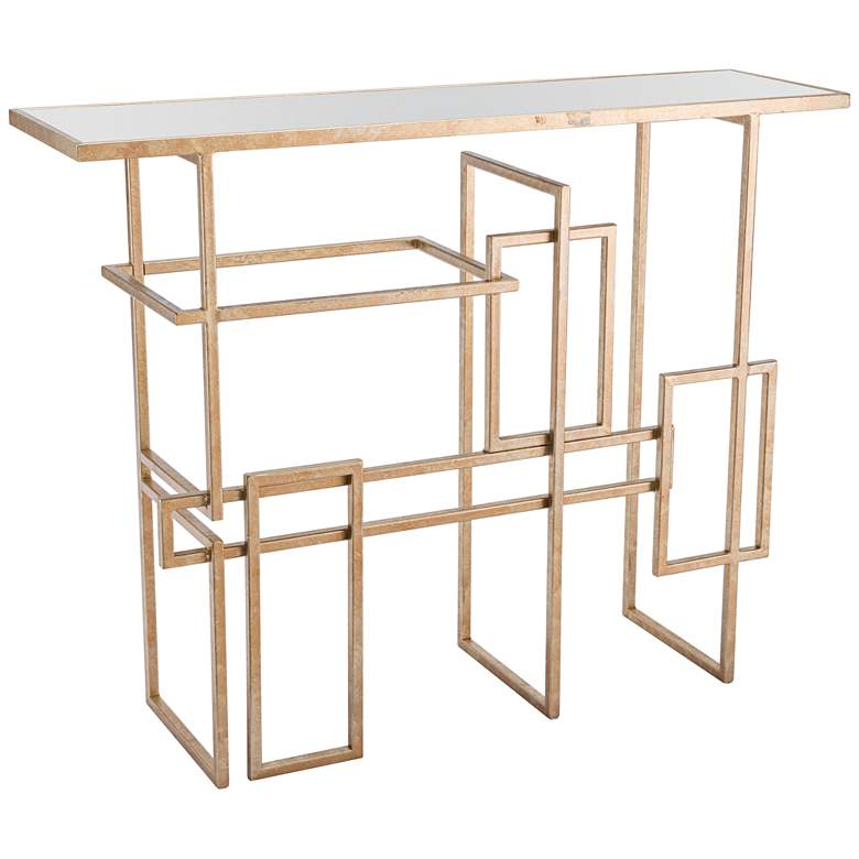"""Zuo Geo 41"""" Wide Mirrored Top and Gold Console Table"""