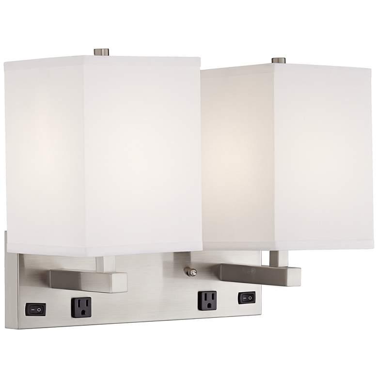 "36E26 - 13.75""Double Headboard Mounted Wall Light w/Outlets"