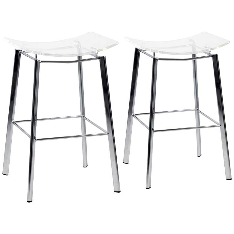 """Artina 25"""" Clear Acrylic and Chrome Counter Stool Set of 2"""