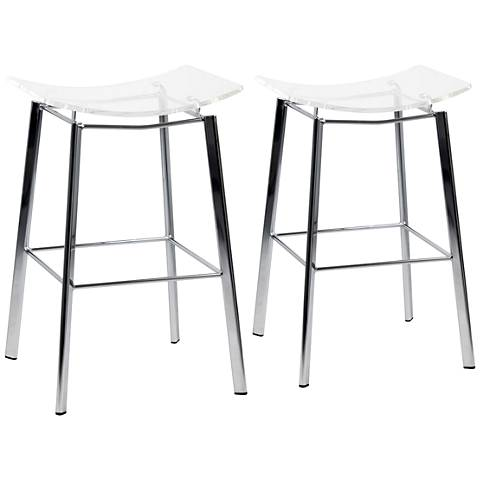 "Artina 25"" Clear Acrylic and Chrome Counter Stool Set of 2"
