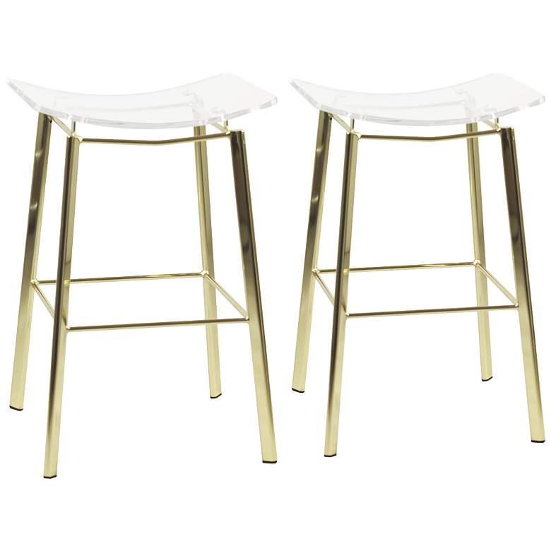 Pleasing Artina 25 Clear Acrylic And Gold Counter Stool Set Of 2 Unemploymentrelief Wooden Chair Designs For Living Room Unemploymentrelieforg