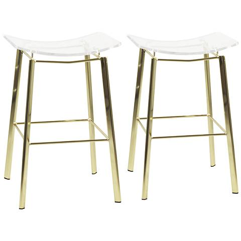 """Artina 25"""" Clear Acrylic and Gold Counter Stool Set of 2"""