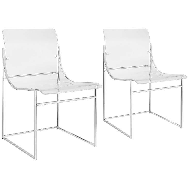Knobel Clear Acrylic and Chrome Dining Chair Set of 2
