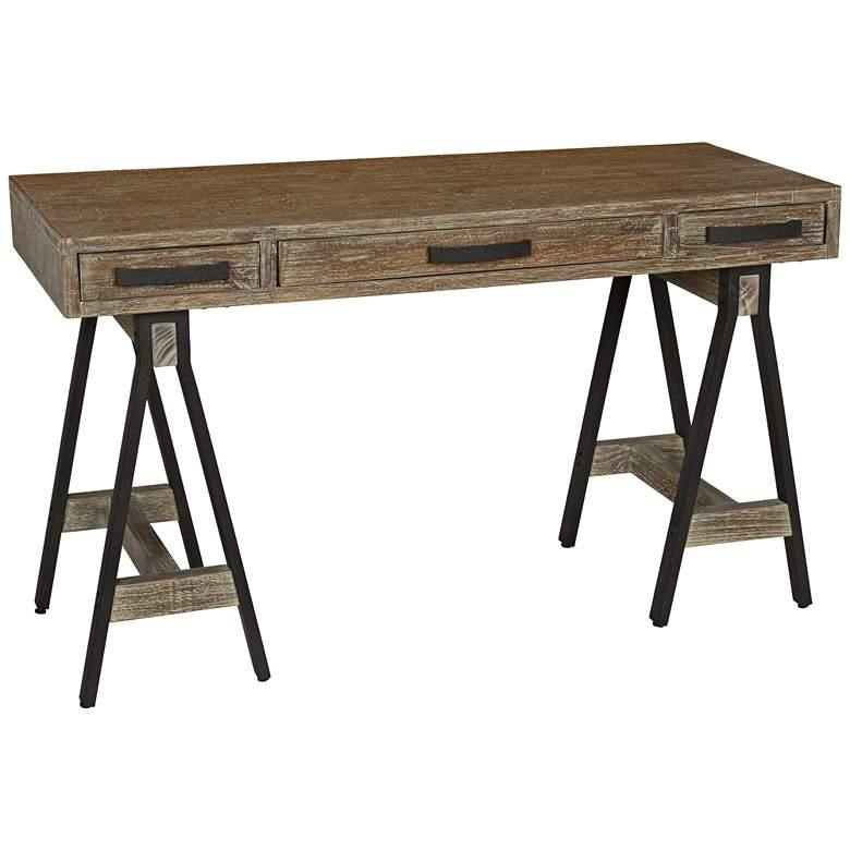"Juliana 52"" Wide Distressed Wood 3-Drawer Trestle Table Desk"