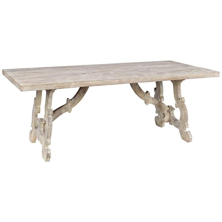 "Elena 78"" Wide Distressed Wood Rectangular Dining Table"