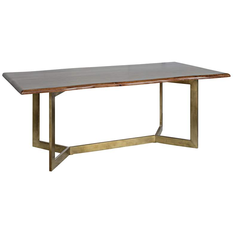 """Kade 80"""" Wide Distressed Wood and Antique Brass Dining Table"""