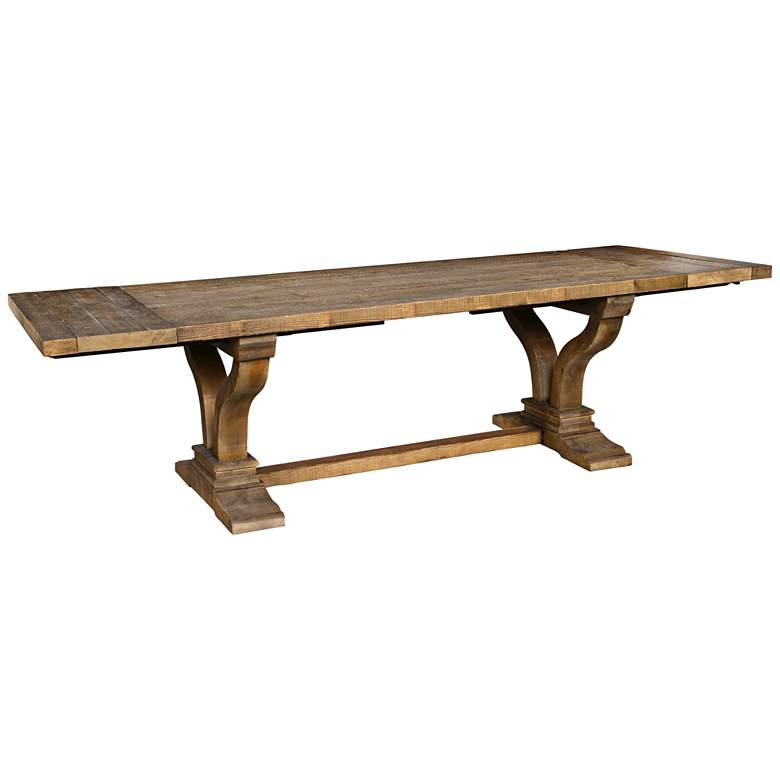 """Alexander 110"""" Wide Distressed Wood Extension Dining Table"""