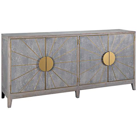Shannon Hand-Distressed Gray Wood 4-Door Sideboard