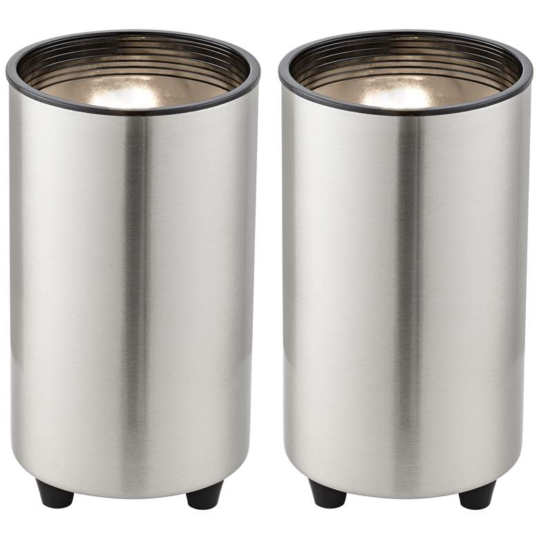 """Brushed Nickel 6 1/2"""" High Accent Can Spot Lights Set of 2"""